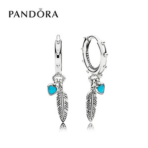 [PANDORA] 판도라 귀걸이 Hearts Feather Hoop Earrings 297205EN168